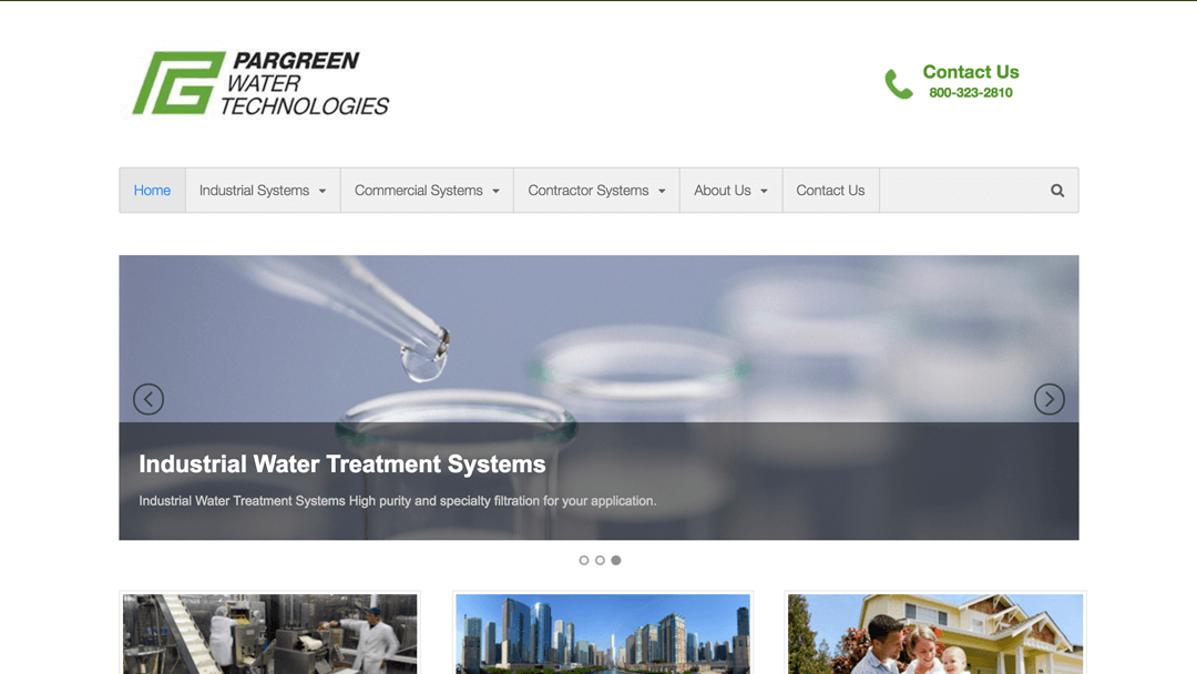 Pargreen Water Technologies website design and local seo